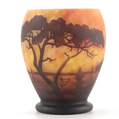 Daum Mottled Cameo Glass Vase with Sunset Landscape Scene, Early 20th Century