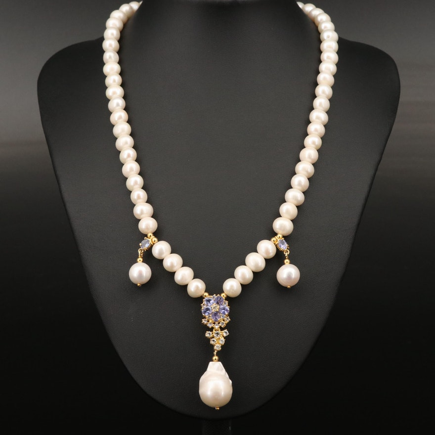 Sterling Pearl, Tanzanite and Topaz Neklace