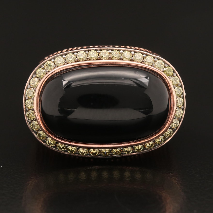 Sterling Black Onyx and Cubic Zirconia East-West Ring with Euro Shank