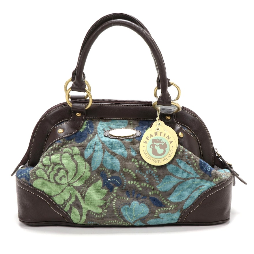 Spartina 449 Cooper Satchel in Needlepoint and Brown Leather