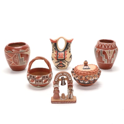 Native American Style Pottery Vases, Lidded Vessels, and More