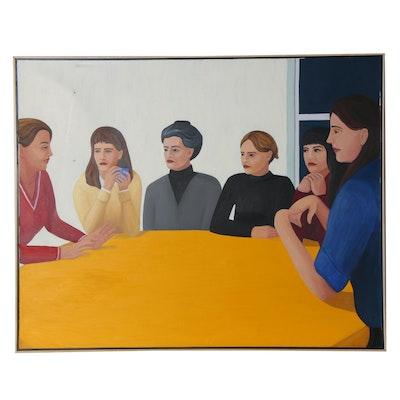 "Deborah Hamon Large-Scale Oil Painting ""Six Women,"" 1999"