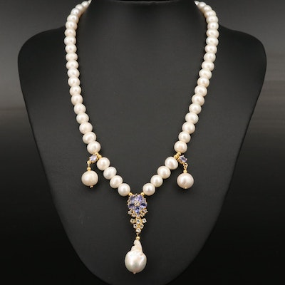 Sterling Pearl, Tanzanite and Topaz Necklace