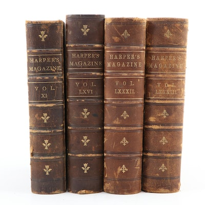 """Leather Bound Volumes of """"Harper's New Weekly Magazine,"""" Mid/Late 19th Century"""
