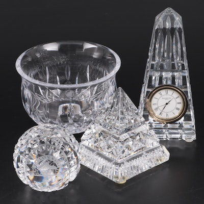 Waterford Crystal Pyramid Paperweight, Obelisk Quartz Clock, and More