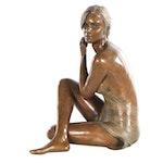 """Rodd Ambroson Bronze Sculpture """"Aware,"""" 2006"""