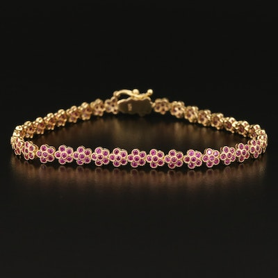 Ruby Flower Line Bracelet in Sterling