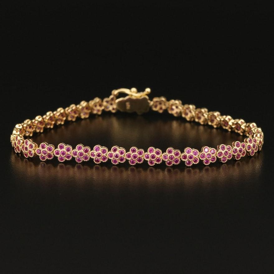 Ruby Flower Line Bracelet in Sterling