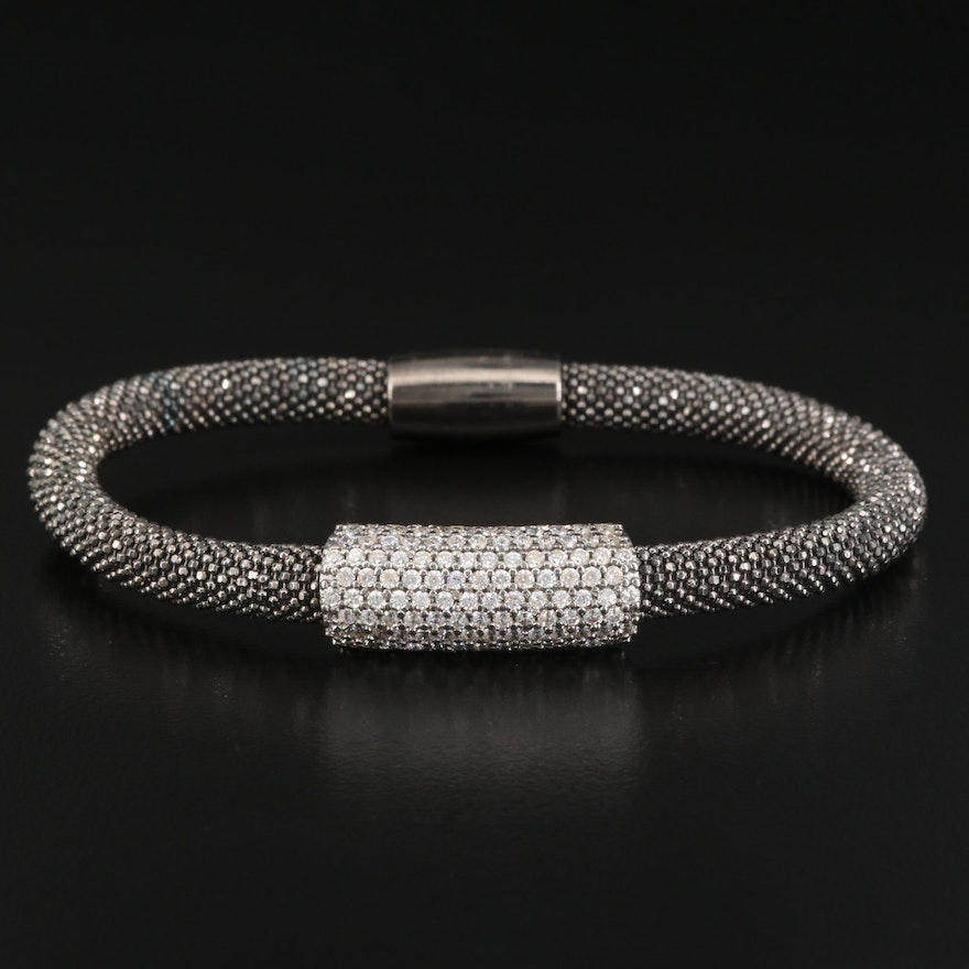 Sterling Silver Cubic Zirconia Mesh Bangle
