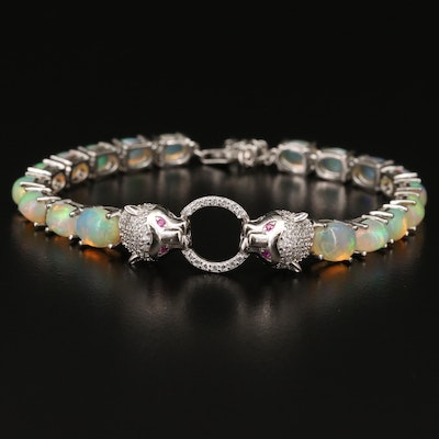 Sterling Opal, Cubic Zirconia and Ruby Double Feline Bracelet