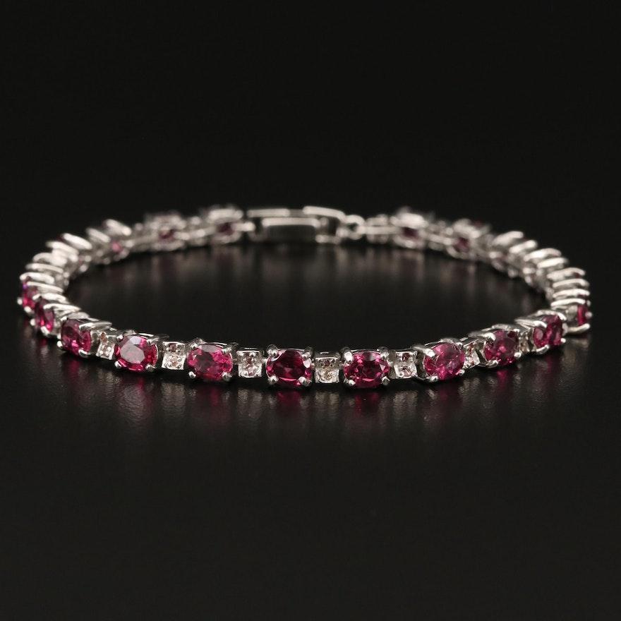 Sterling Garnet and Sapphire Bracelet