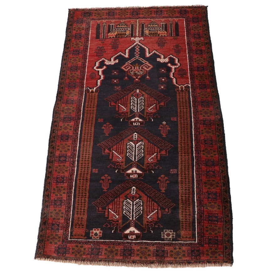 2'9 x 4'10 Hand-Knotted Afghan Baluch Wool Prayer Rug