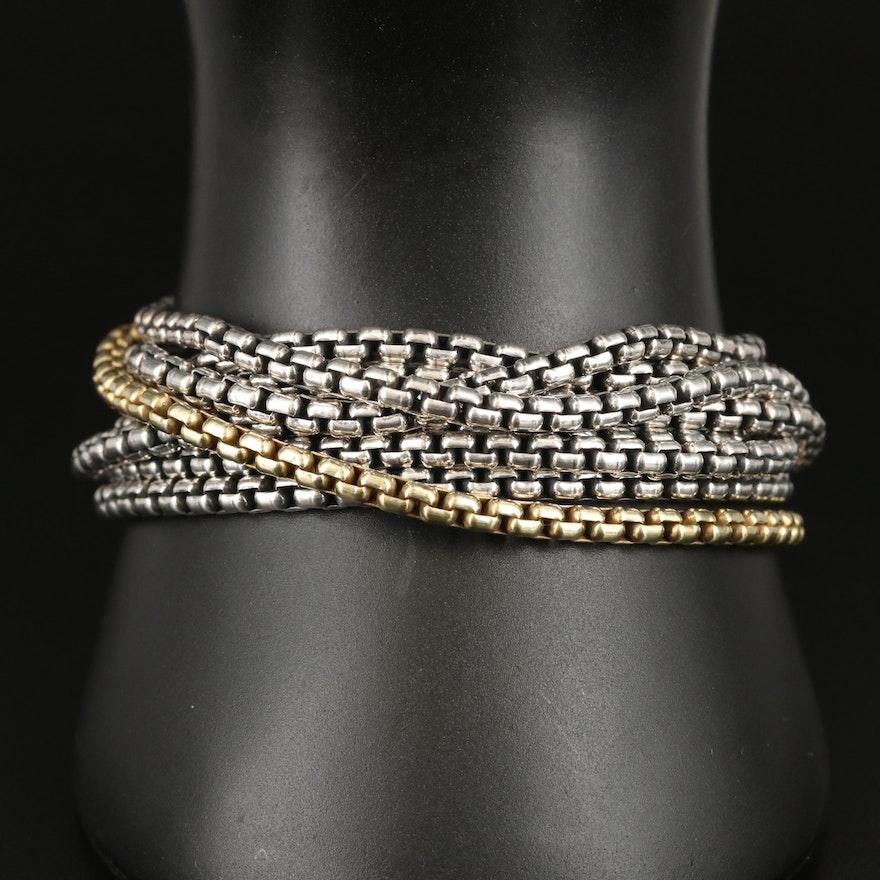 David Yurman Sterling Multi-Chain Bracelet with 18K Accent
