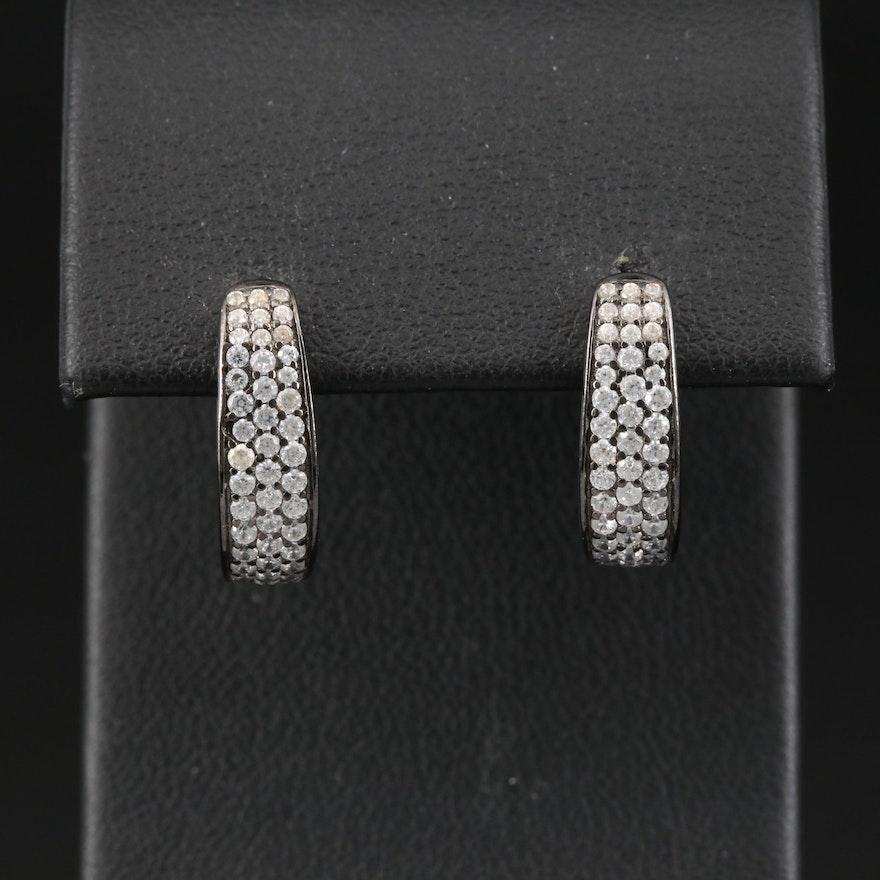 Sterling Silver Cubic Zirconia J-Hoop Earrings