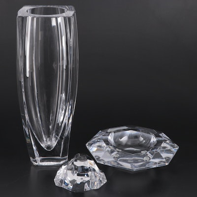 "Val St. Lambert ""Sitelle"" Crystal Vase, Ashtray and Paperweight"