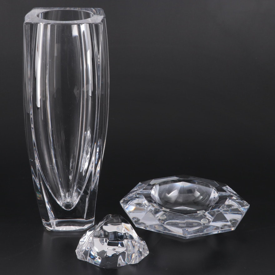 """Val St. Lambert """"Sitelle"""" Crystal Vase, Ashtray and Paperweight"""