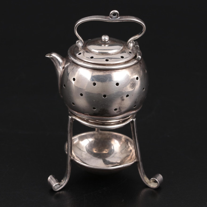 Simons Brothers Sterling Silver Tea Strainer and Stand, Late 19th/Early 20th C.