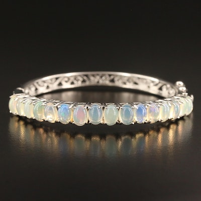 Sterling Silver Opal Hinged Bangle