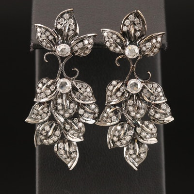 18K 2.11 CTW Diamond Foliate Earrings