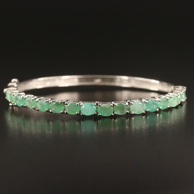 Sterling Emerald Hinged Bangled