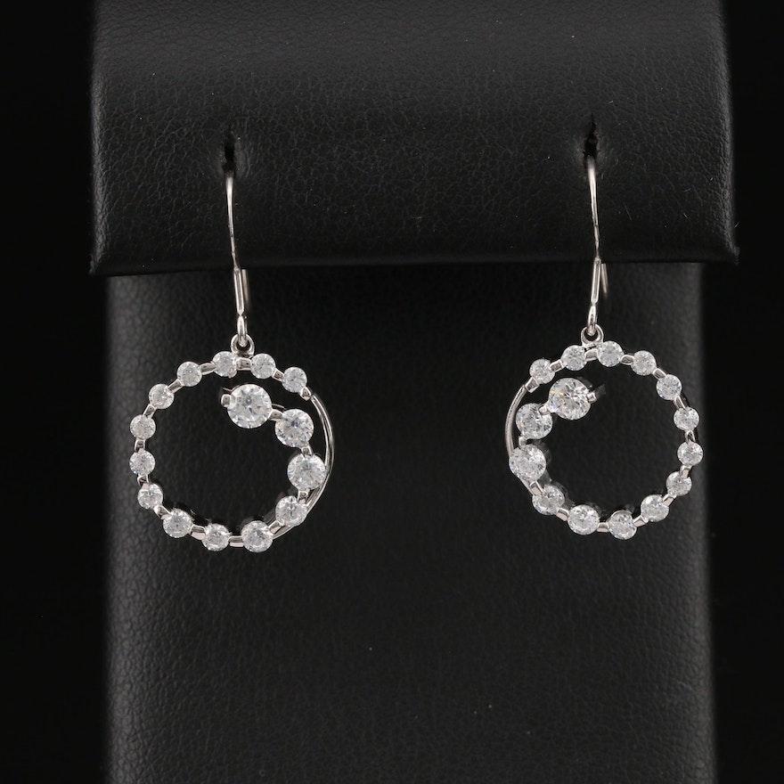 Sterling Silver Cubic Zirconia Journey Dangle Earrings