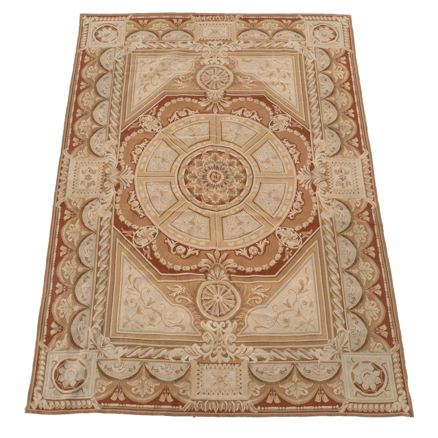 5'10 x 9'4 Handmade French Aubusson Wool Rug