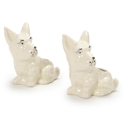 Pair of Ceramic Scottie Dog Shaped Planters, Mid-20th Century