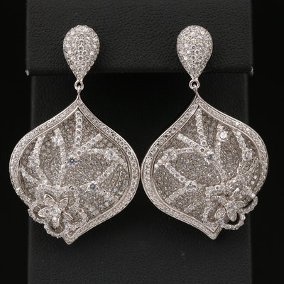 Sterling Cubic Zirconia Floral Open Dangle Earrings