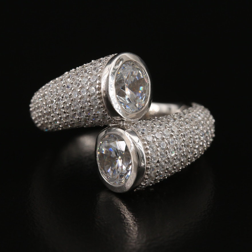 Sterling Cubic Zirconia Bypass Ring