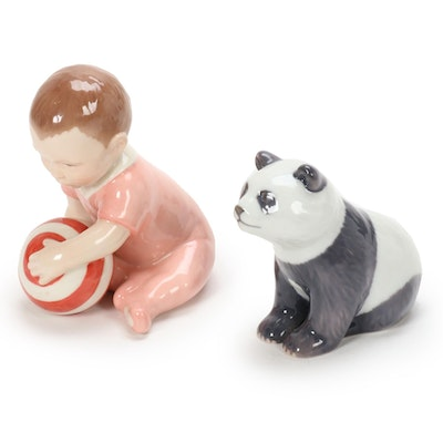 Royal Copenhagen Panda and Child with Ball Porcelain Figurines