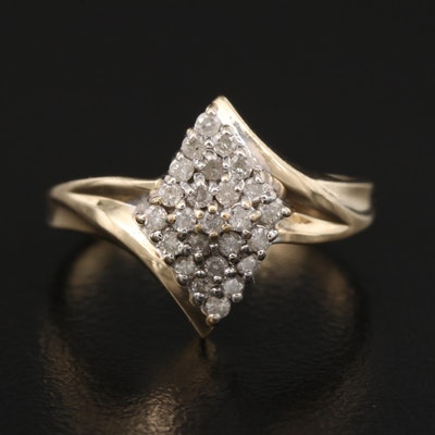 10K Diamond Cluster Bypass Ring