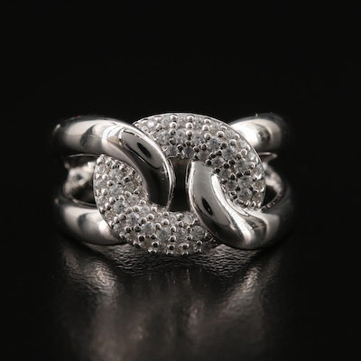 Sterling Cubic Zirconia Anchor Link Ring
