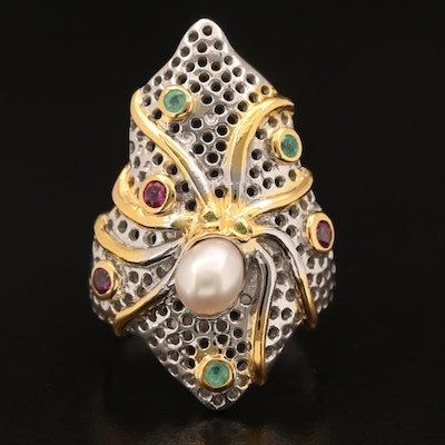 Sterling Pearl, Rhodolite Garnet and Emerald Octopus Ring