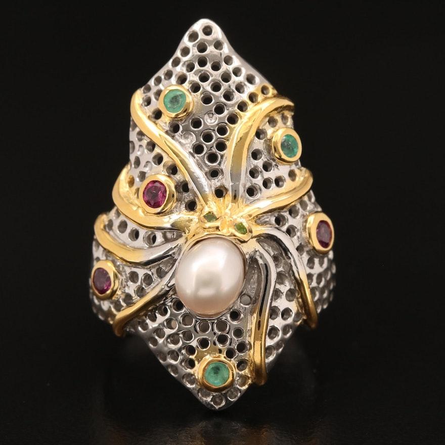 Sterling Pearl, Rhodolite Garnet and Emerald Octopus Ring
