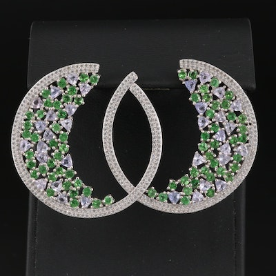 Sterling Silver Tanzanite, Diopside and Cubic Zirconia Half-Hoop Earrings