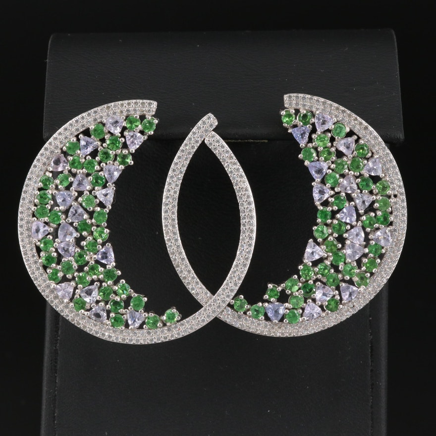 Sterling Silver Tanzanite, Diopside and Cubic Zirconia Half-Hoop Earrings