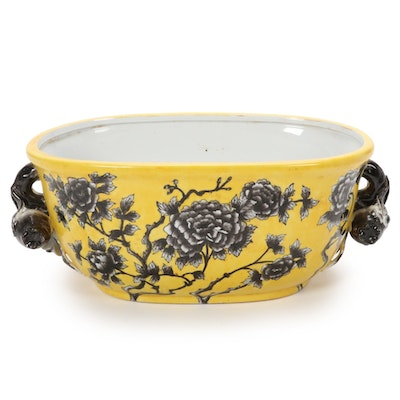 Chinese Ceramic Black and Yellow Ceramic Footbath Planter, Contemporary