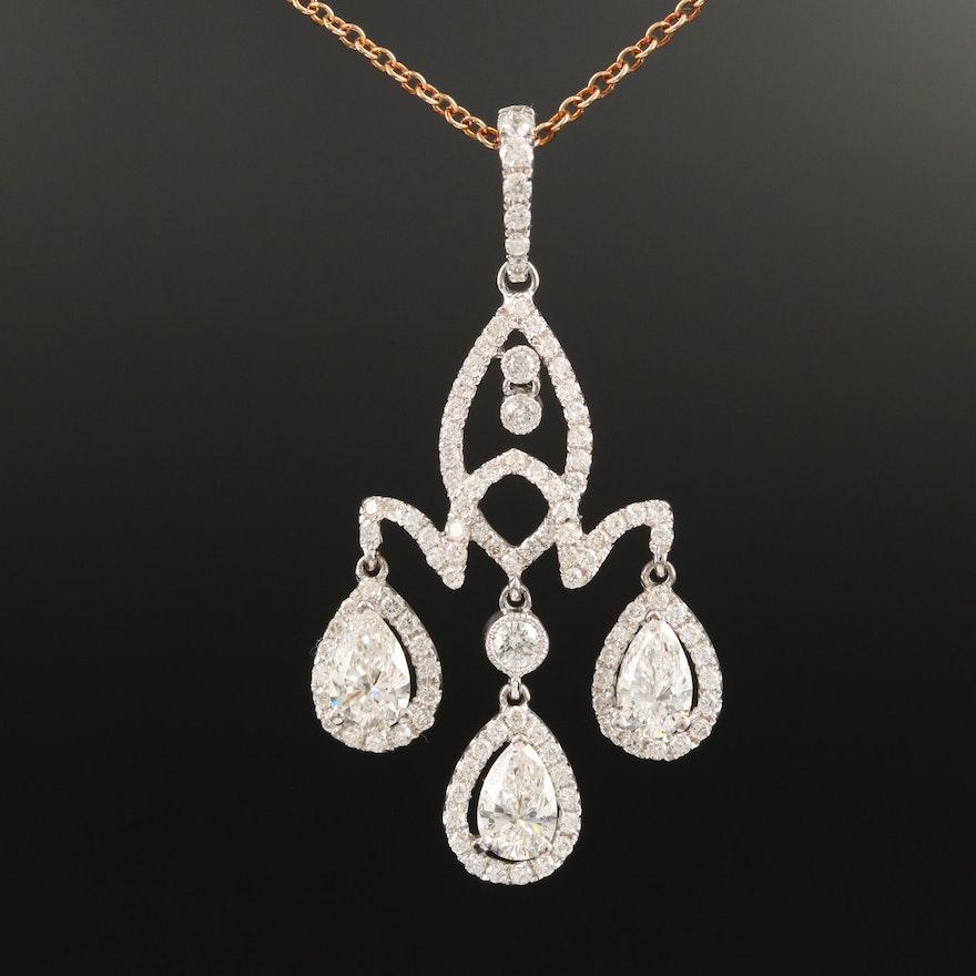 18K 1.15 CTW Diamond Pendant Necklace