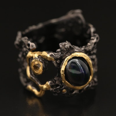 Sterling Opal and Citrine Biomorphic Ring