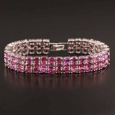 Triple Row Garnet Line Bracelet in Sterling