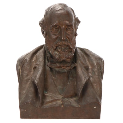 "Olin Levi Warner American Bronze Bust ""William Sargent Ladd,"" 1890"