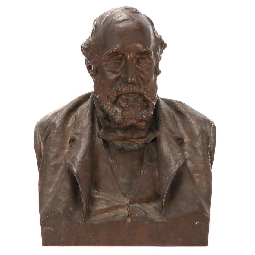"Olin Levi Warner American Bronze Bust ""William Sargent Ladd,"" 1890"