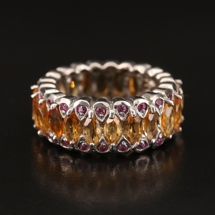 Sterling Citrine and Rhodolite Garnet Eternity Band