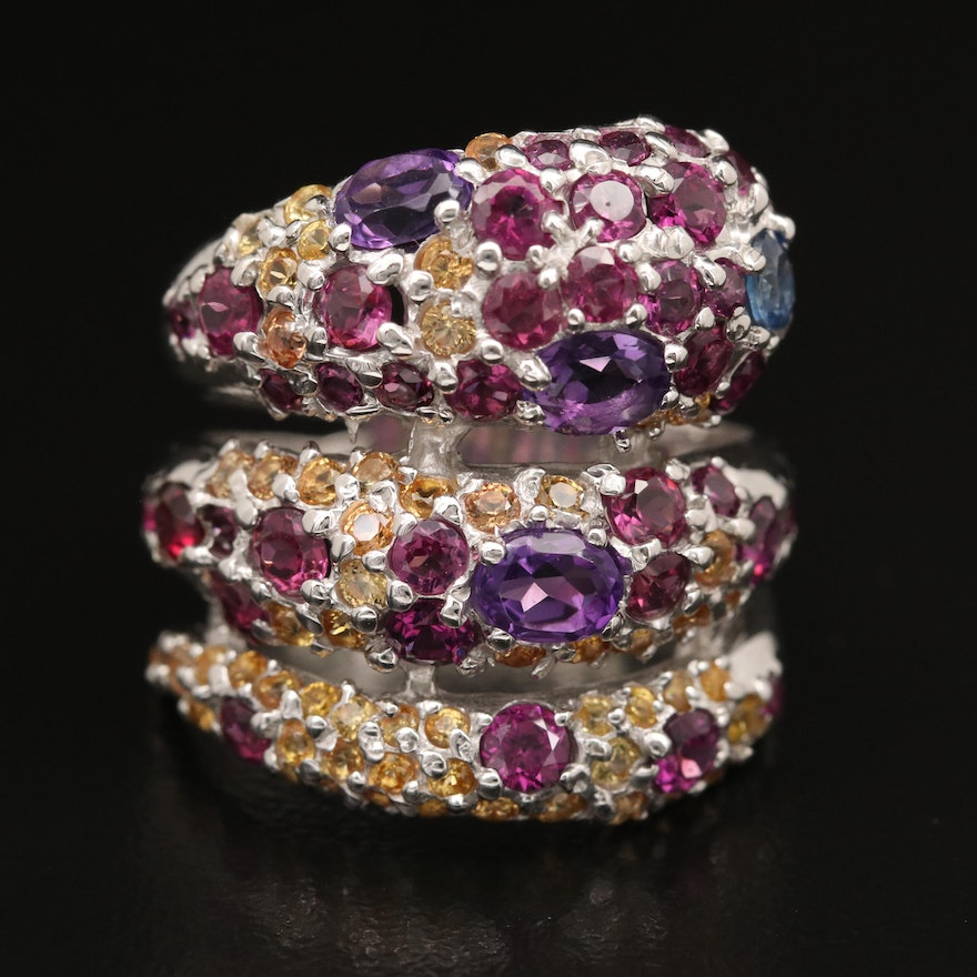 Sterling Sapphire, Garnet and Amethyst Snake Bypass Ring