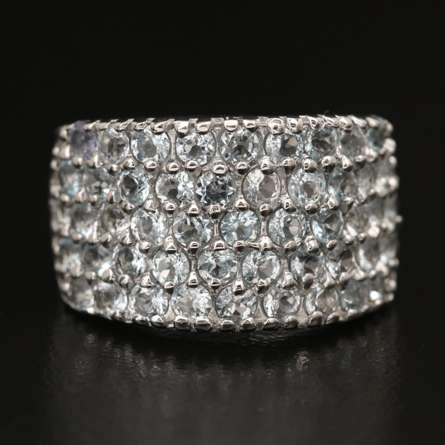 Sterling Topaz Multi-Row Band