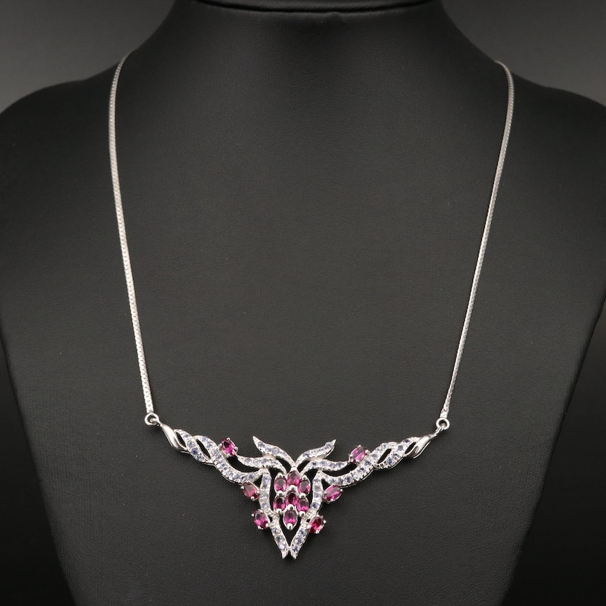 Sterling Garnet and Tanzanite Necklace