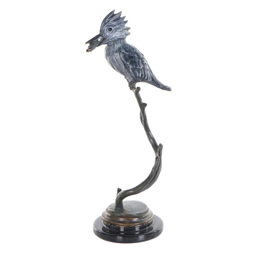 "Geoffrey C. Smith Bronze Sculpture ""Mangrove King, Kingfisher,"" 1995"