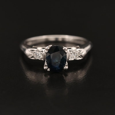 14K 1.00 CT Sapphire and Diamond Ring