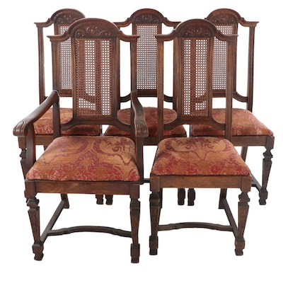 Five Oak and Caned Back Dining Chairs, Early to Mid 20th Century
