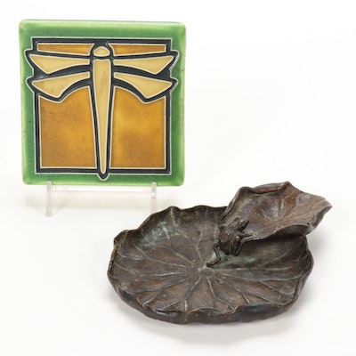 Arts and Crafts Bronze Frog on Lily Pad Dish with Motawi Dragonfly Motif Tile